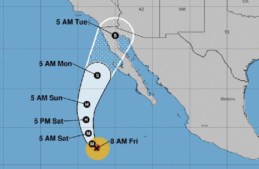 Hurricane Rosa's forecast track.