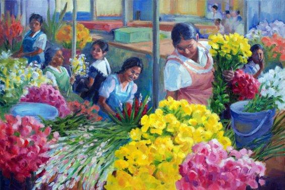 Oaxaca flower market.