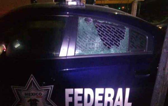 A patrol car after this morning's ambush.