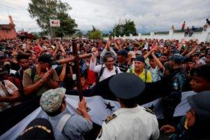 The caravan of migrants from Honduras, en route to the US via Mexico.