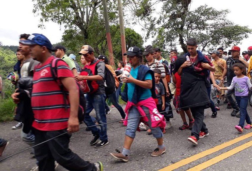 A second caravan on the road in Guatemala on Sunday.