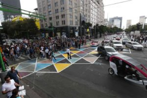 The city's colorful new crosswalk.