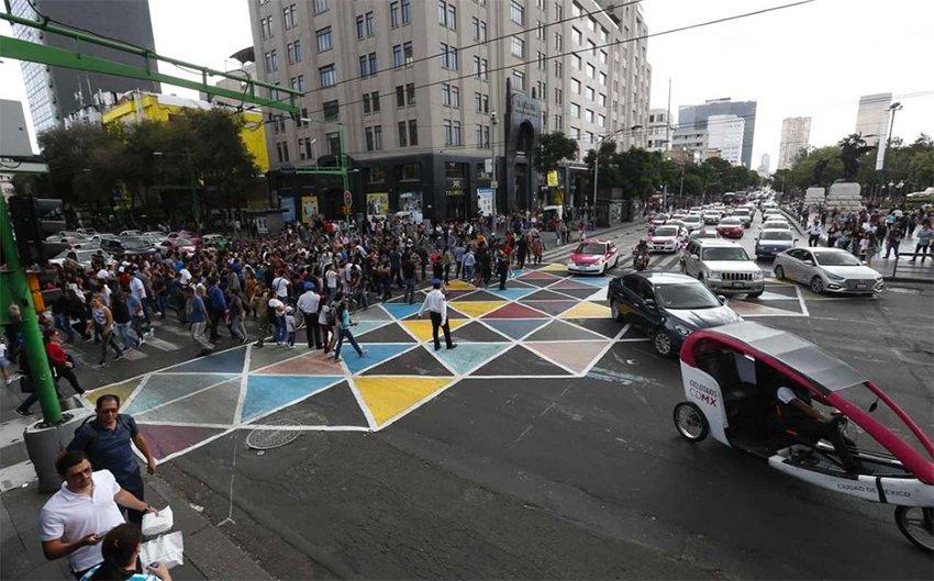 The city's colorful new crosswalk.