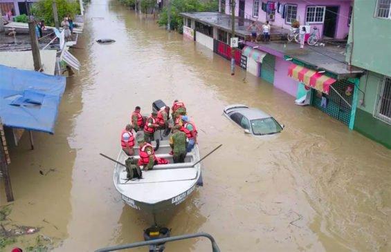 Flooding in Veracruz yesterday.