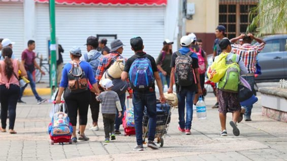 Migrants arrive in Tapachula, Chiapas.