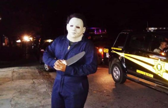 'Michael Myers' in Mérida yesterday.