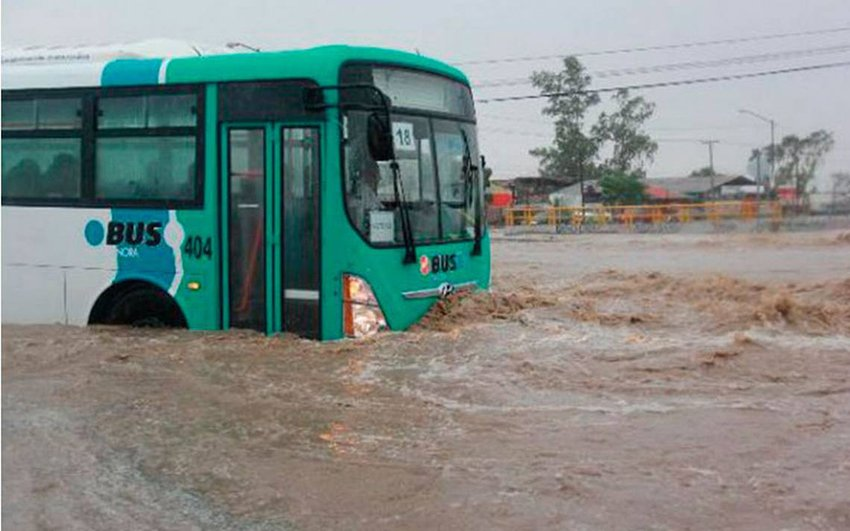A bus battles floodwaters in Sonora.