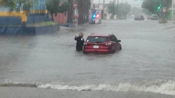 Flooded street in Sonora yesterday.