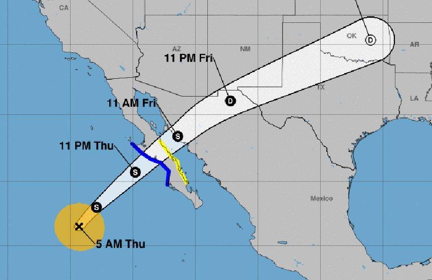 Sergio's forecast track.