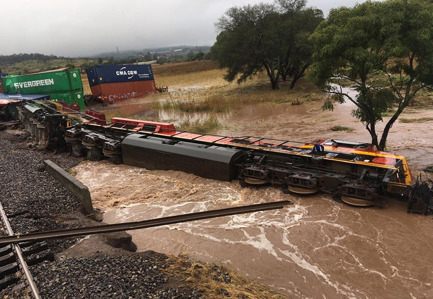 Derailed train in Michoacán today.