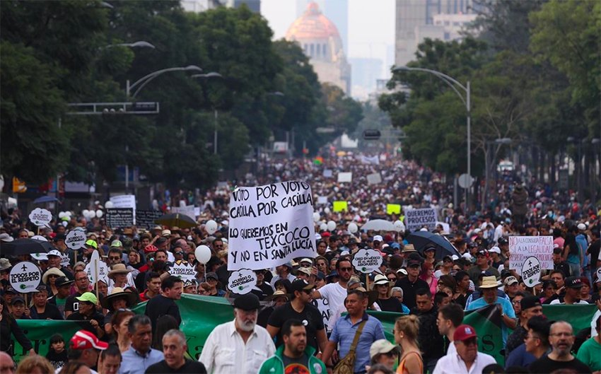 Over 5,000 marched yesterday in Mexico City.