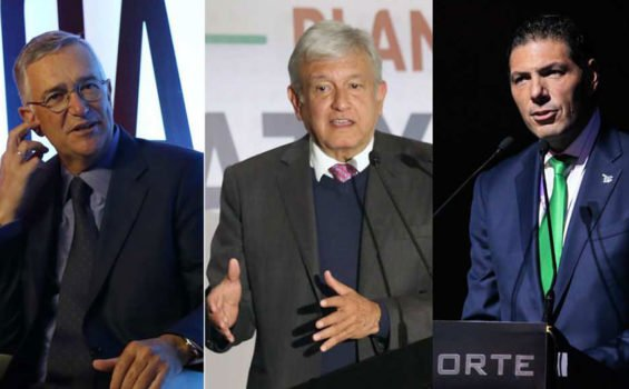 Salinas, left, and Hank, right, will be among members of the new advisory council announced by López Obrador, center.