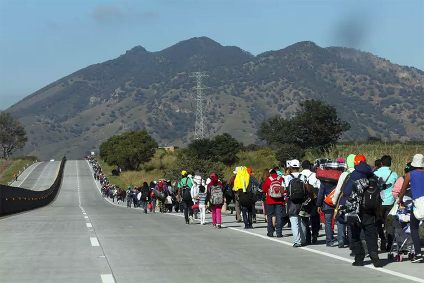 A caravan of migrants on the march in Mexico.