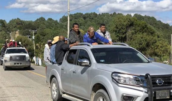 Part of Saturday's convoy of displaced persons in Guerrero.