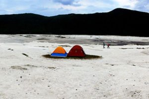 Campers inside the crater at Parangueo.