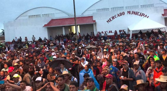 Members of the first caravan spent last night in Sayula, Veracruz.