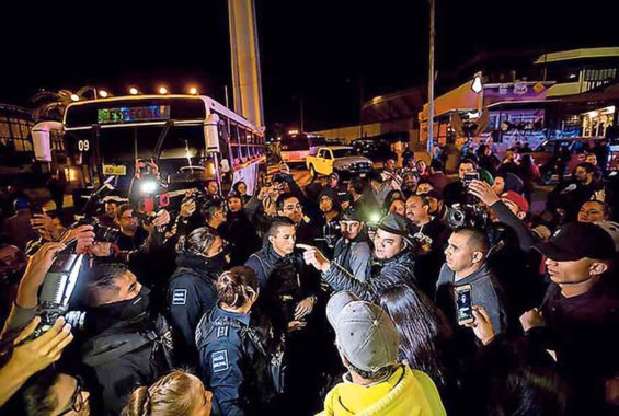 Anti-migrant demonstrators in Tijuana.