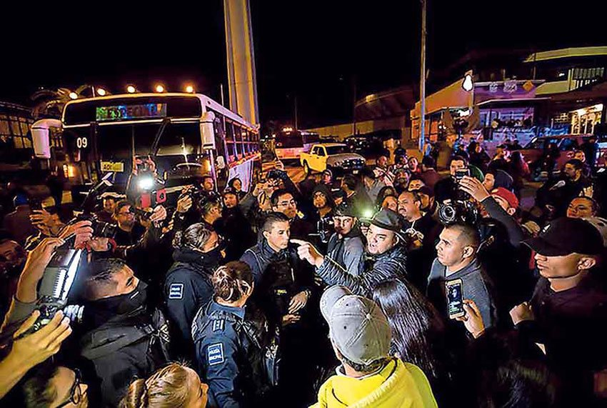 Anti-migrant demonstrators in Tijuana.
