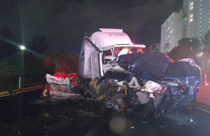 The wreckage after Wednesday's accident.
