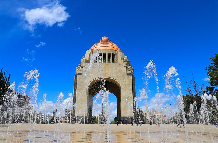 Fountains in front of the Monument to the Revolution in Mexico City.