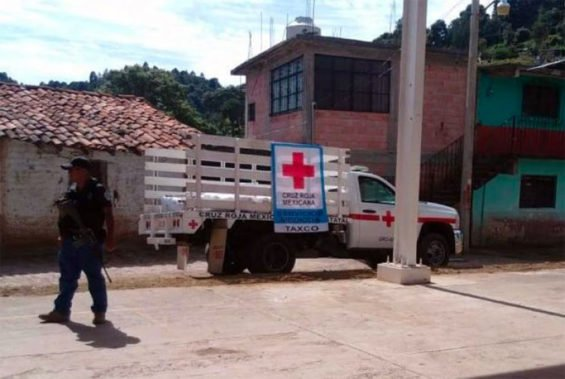 A Red Cross truck at the scene of yesterday's shooting in Guerrero.
