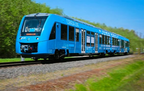 The hydrogen-powered train now operating in Germany.