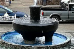 Giant mortar in San Lucas is now a fountain