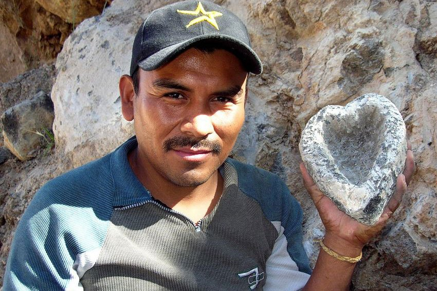 Victor Cocula with heart-shaped molcajete.