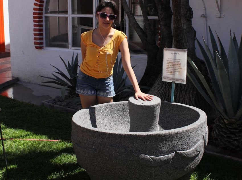 Large molcajete on display at Zacatecas restaurant.