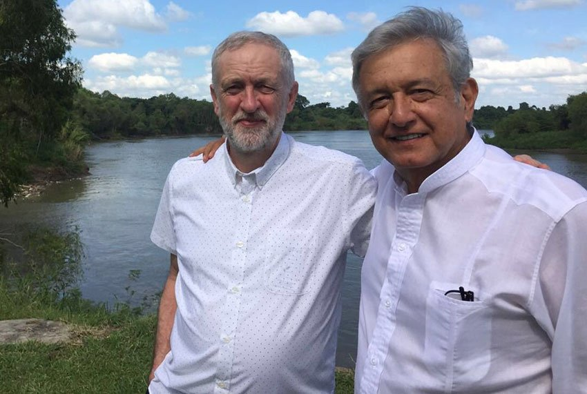 Corbyn, left, with AMLO in Tabasco two years ago.