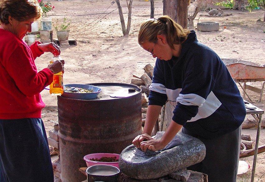 Making tortillas for breakfast.