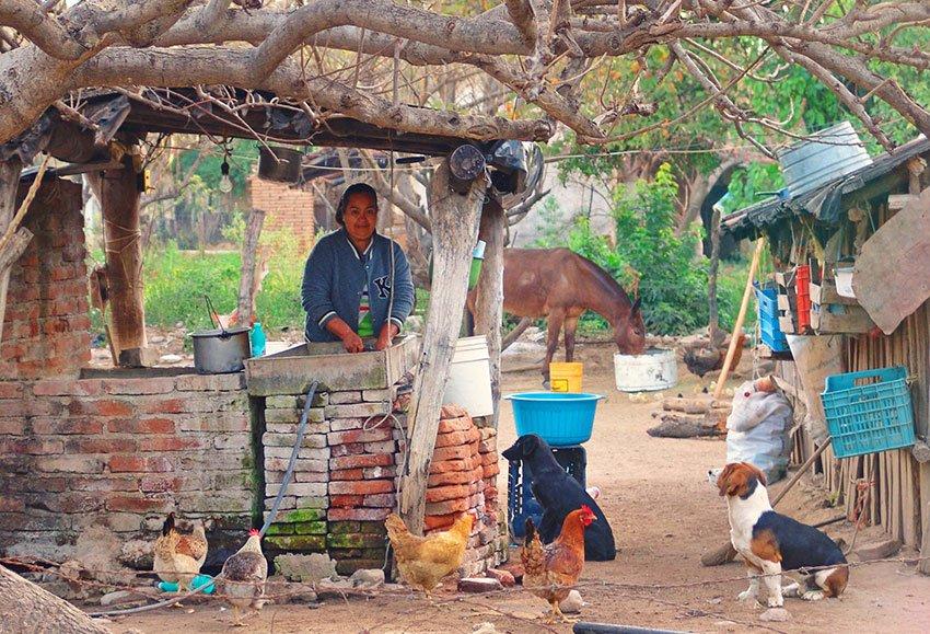 A kitchen in the village.