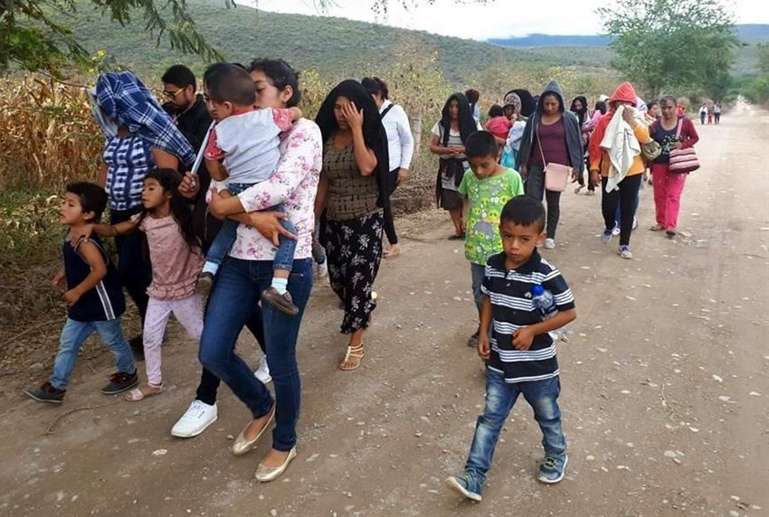 Displaced citizens of Chiapas who were forced to flee their homes last year.