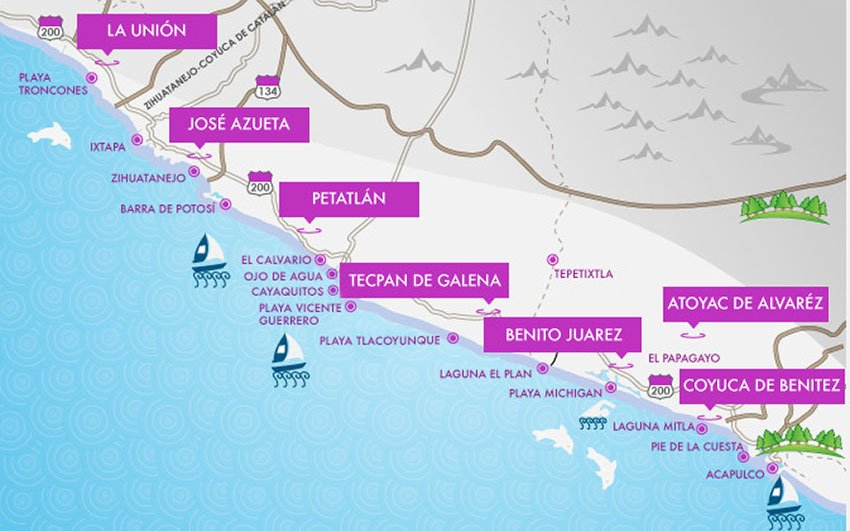 The Costa Grande region extends from Acapulco to the Michoacán border.