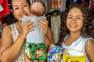 A baby models one of Zihuatanejo's cloth diapers.