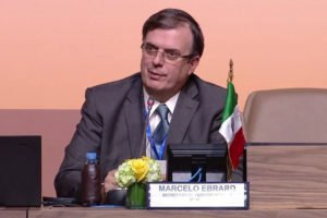 Ebrard speaks at conference in Morocco.