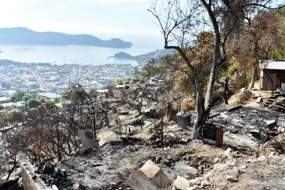 Devastation left by last week's fire in Zihuatanejo.