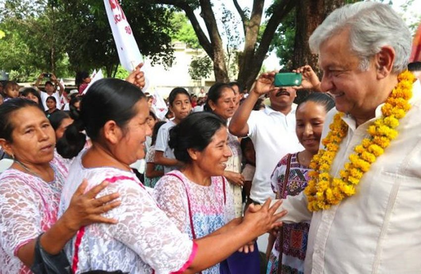 AMLO gets a warm welcome while visiting an indigenous community.