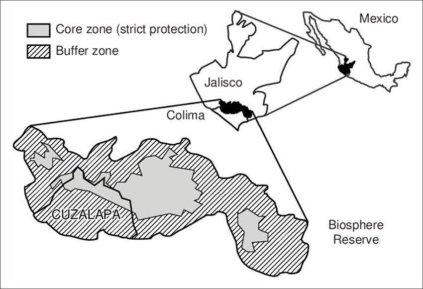 The Sierra de Manantlán Biosphere Reserve.