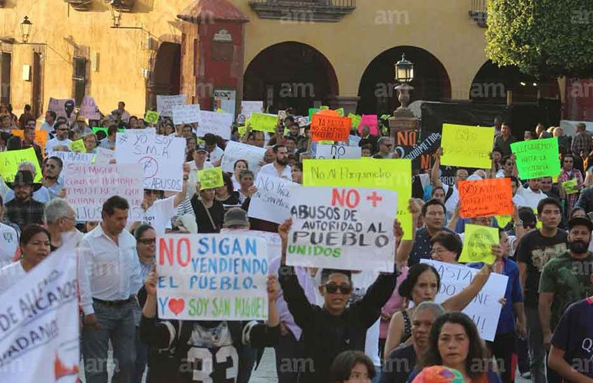 A protest held earlier this year against parking meters in San Miguel.