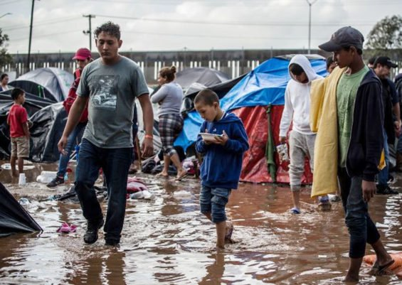 Muddy conditions at the shelter in Tijuana after heavy rains.
