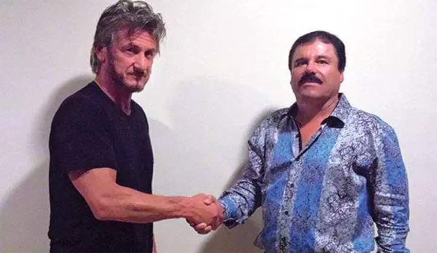 Penn, left, and Guzmán at a meeting in 2015.