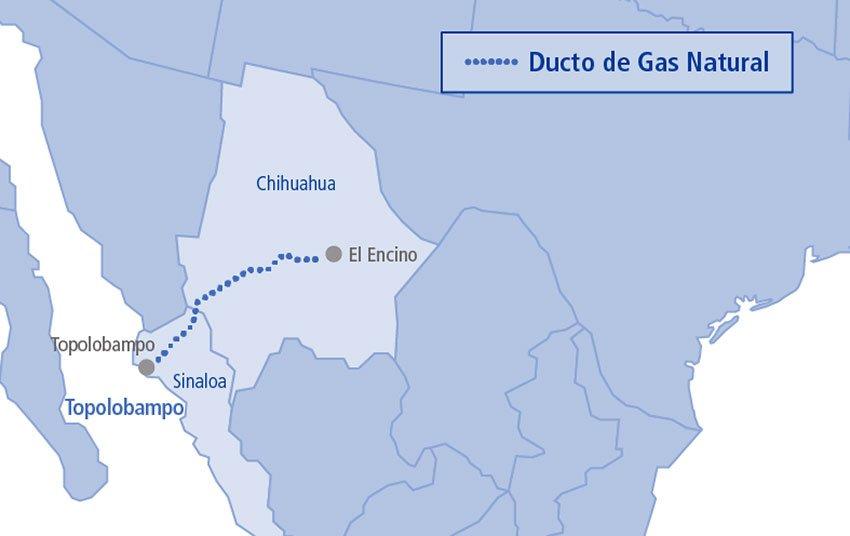 Route of the El Encino-Topolobampo pipeline.