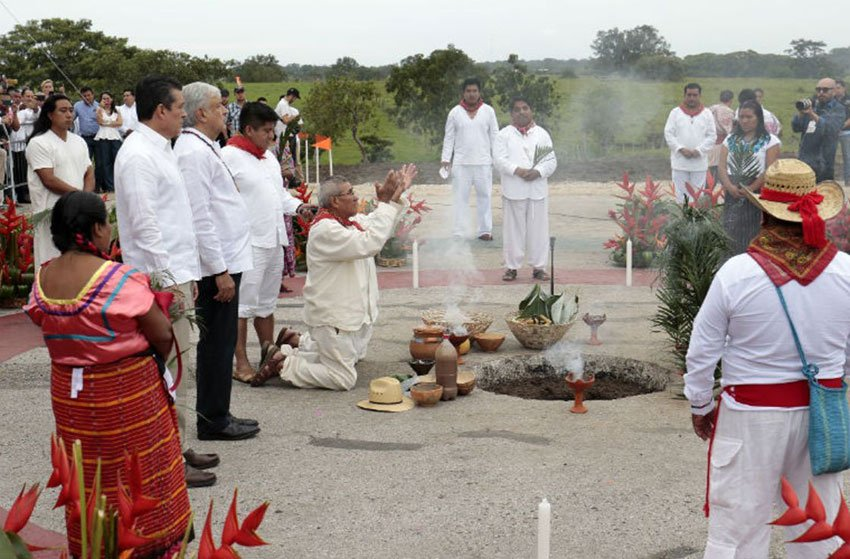 Yesterday's ceremony in Chiapas to seek permission to build train.