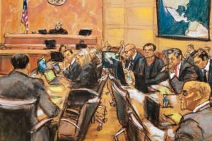 The New York trial of former drug lord 'El Chapo' Guzmán, seated just to the left of the map on the wall.