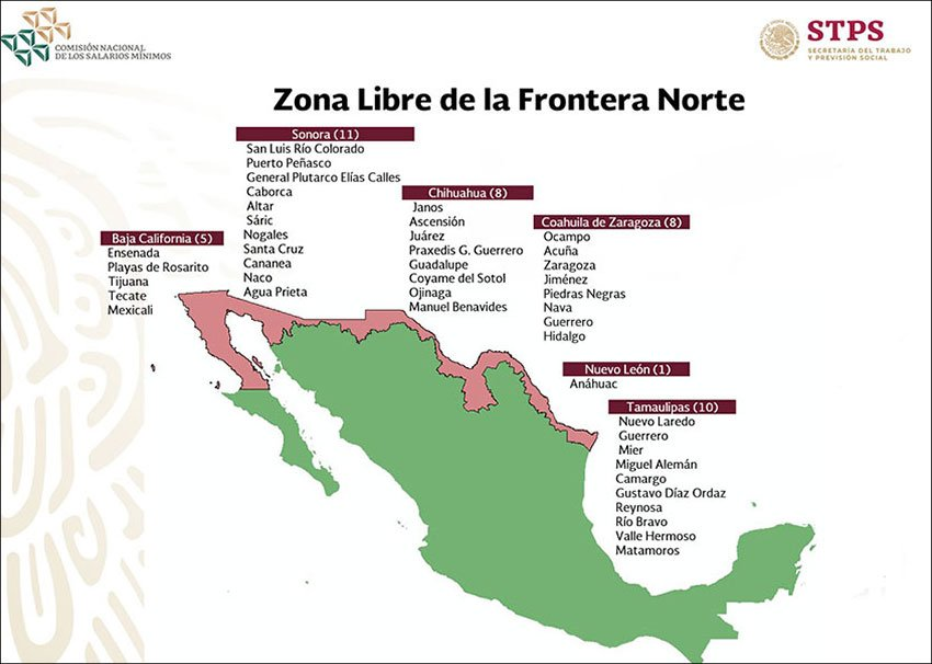 The northern border free zone: higher minimum wage and lower taxes.