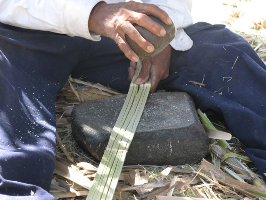 Reed is flattened with hammer and anvil for basket-weaving at Lake Cuitzeo.