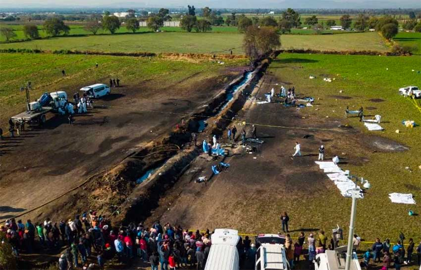 The site of Friday's explosion in Hidalgo.