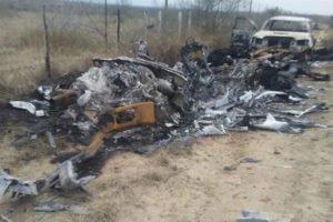 Burned trucks at the scene of Tamaulipas battle.