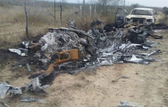 Burned trucks at the scene of Tamaulipas battle.